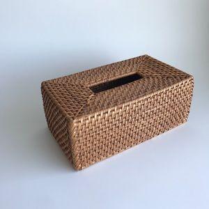 Rectangular Rattan Tissue Box Cover - Honey Brown